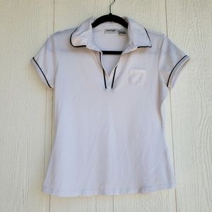 White Collared Shirt with Black Trim